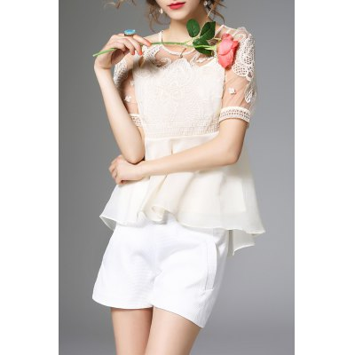 Flounce Ruffles Embroidery Blouse and Cami Tank Top Suit
