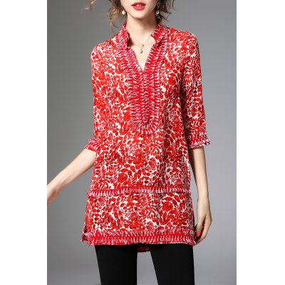 Half Sleeve Long Print Blouse