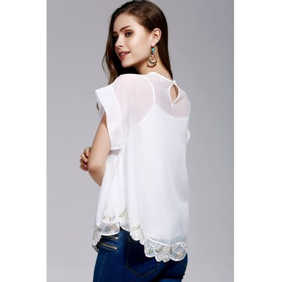 Cami Top and Retro Embroidery Blouse TwinsetDesigner Tops<br>Cami Top and Retro Embroidery Blouse Twinset<br><br>Material: Polyester<br>Composition: 100% Polyester<br>Clothing Length: Regular<br>Sleeve Length: Short<br>Collar: Round Neck<br>Pattern Type: Others<br>Embellishment: Embroidery<br>Style: Fashion<br>Weight: 0.370kg<br>Package Contents: 1 x Cami Top  1 x Blouse