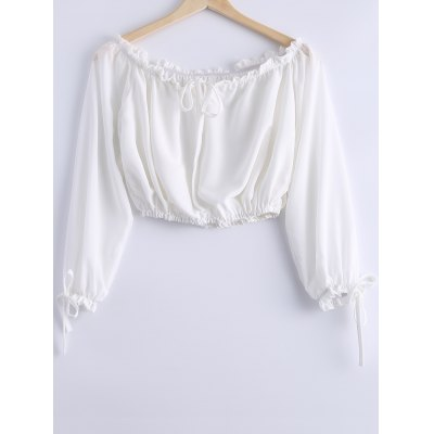 Stylish Off-The-Shoulder Tie Long Sleeves Crop Top For Women