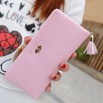Stylish Tassel and Cover Design Wallet For Women