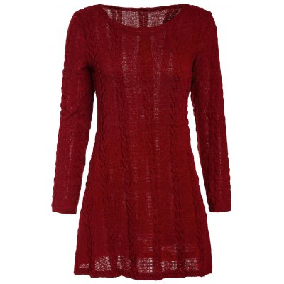 Brief Scoop Neck A-Line Long Sleeve Dress For Women