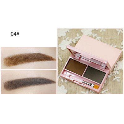 Stylish 2 Colours Long Wear Waterproof Smudge-Proof Eyebrow Powder Palette with Brush and Mirror