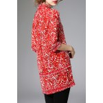 cheap Half Sleeve Long Printed Blouse