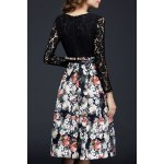 cheap Long Sleeve Lace Panel Floral Dress