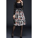 Long Sleeve Lace Panel Floral Dress deal