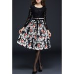 Long Sleeve Lace Panel Floral Dress for sale