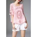Loose Floral Embroidery Blouse and Cami Tank Top Suit deal