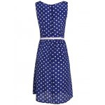 Attractive Polka Dot Printed Sleeveless Ball Gown Dress For Women deal