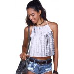 cheap Fashionable Cross Braces Tie-Dye Crop Top