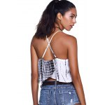 Fashionable Cross Braces Tie-Dye Crop Top for sale