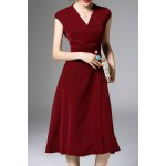 Pearls Belted Solid Color Dress