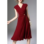 Pearls Belted Solid Color Dress deal