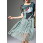 Printed Faux Twinset Dress