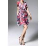 V Neck Printed Waisted Corset Dress deal