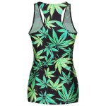 Stylish Scoop Neck Leaf Print Tank Top For Women deal