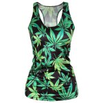 cheap Stylish Scoop Neck Leaf Print Tank Top For Women