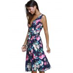 Ladylike Surplice Bowknot Belted Floral Women's Dress for sale
