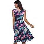 best Ladylike Surplice Bowknot Belted Floral Women's Dress