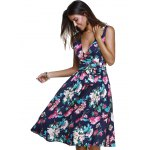 cheap Ladylike Surplice Bowknot Belted Floral Women's Dress