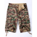 Straight Leg Multi-Pocket Lacing Hem Zipper Fly Camo Cargo Shorts For Men