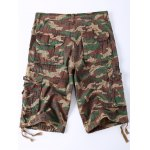 cheap Straight Leg Multi-Pocket Lacing Hem Zipper Fly Camo Cargo Shorts For Men