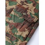 Straight Leg Multi-Pocket Lacing Hem Zipper Fly Camo Cargo Shorts For Men photo