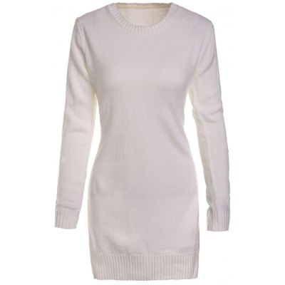 Sweet Round Neck High Slit White Sweater For Women