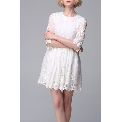 Embroidered Hollow Out Dress