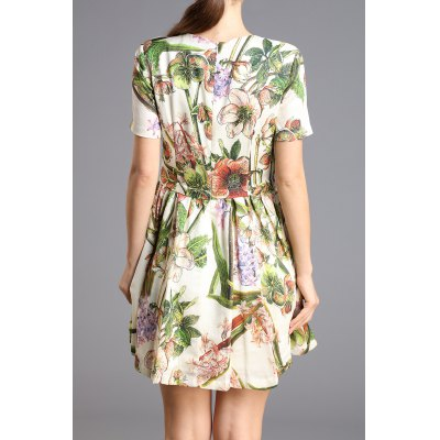 Flower Print Mini DressDesigner Dresses<br>Flower Print Mini Dress<br><br>Style: Casual<br>Occasion: Day<br>Material: Silk<br>Composition: 100%Silk<br>Silhouette: A-Line<br>Dresses Length: Mini<br>Neckline: Round Collar<br>Sleeve Length: Short Sleeves<br>Pattern Type: Floral<br>With Belt: No<br>Season: Summer<br>Weight: 0.300kg<br>Package Contents: 1 x Dress