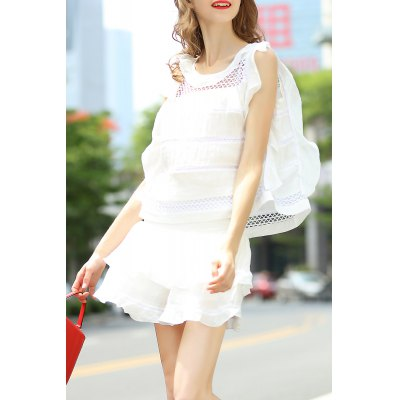 Flounce Ruffles Tank Top and High Waist Pure Color Skirt Suit