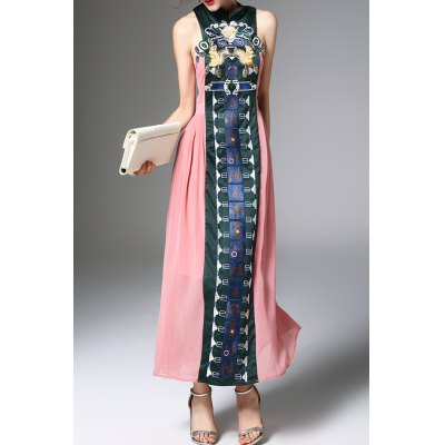 Embroidered Vintage Maxi Dress