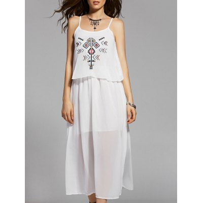 Cami Ethnic Embroidery White Maxi Dress