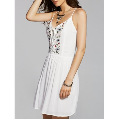Cami Flower Embroidery A Line Dress