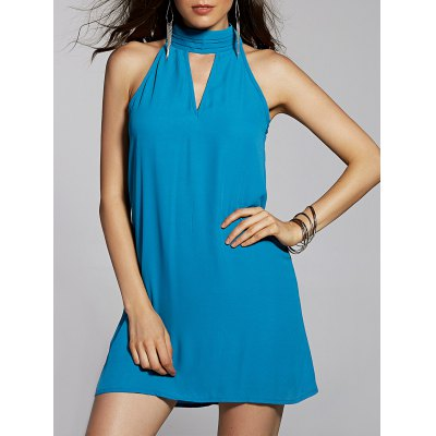 Stylish Stand Neck Sleeveless Cut Out Chiffon Dress For Women