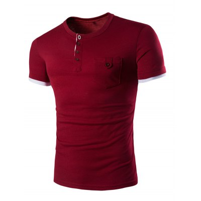 Solid Color Round Color Short Sleeves T-Shirt For Men