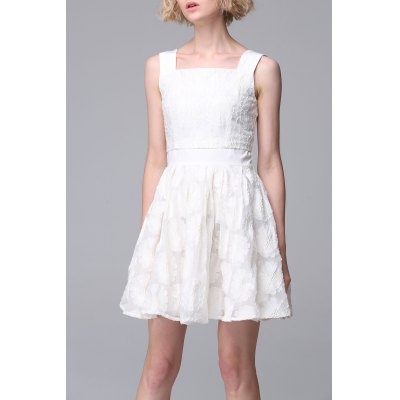 Square Neck Embroidery Dress