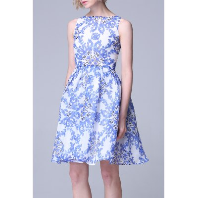 Blue and White Porcelain Printed Sundress