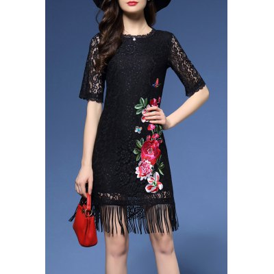 Flower Embroidered Fringe Lace Bodycon Dress