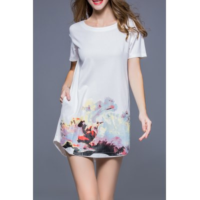 Loose Printed Shift Dress