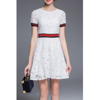 Round Collar Lace A Line Dress