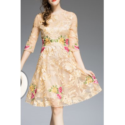 Floral Embroidered A Line Knee Length Dress