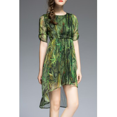 Plant Print High Low Half Sleeve Dress