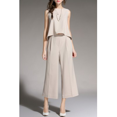Sleeveless Top and Wide Leg Pants