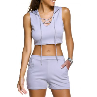Casual Hooded Crop Top + Shorts Twinset