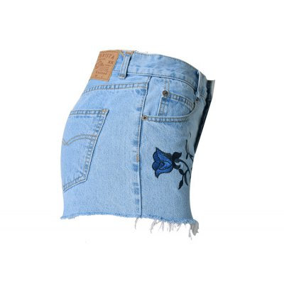 vintage-style-high-waist-raw-edged-floral-embellished-denim-shorts-for-women