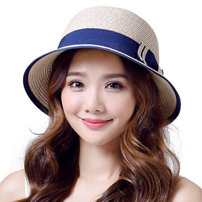 Double-Deck Bow Lace-Up Tropical Style Panama Straw Hat For Women