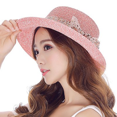 Sequins Double-Deck Bow Lace-Up Outdoor Travelling Straw Hat For Women