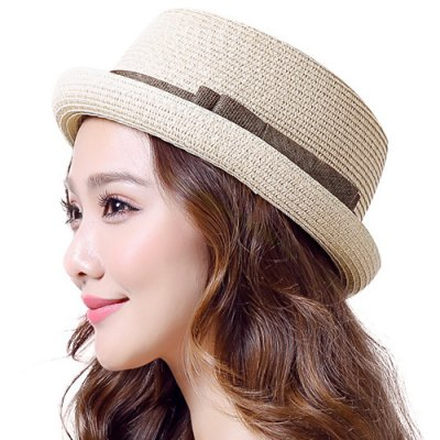 Chic Double-Deck Bow Lace-Up Flat Top Flanging Small Straw Hat For Women