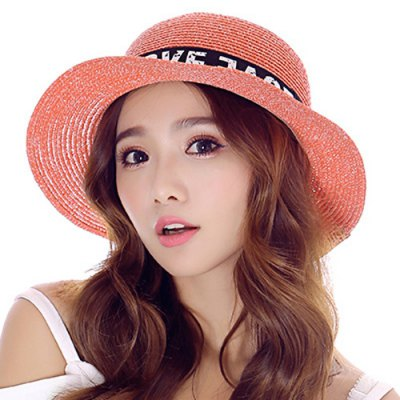 Letter Printed Lace-Up Western Cowboy Style Folding Straw Hat For Women